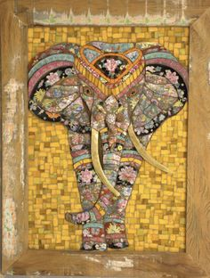 Elefante Mosaico Picassiette by Andrea Olighon Mosaic Diy, Mosaic Garden, Mosaic Glass, Mosaic Tiles, Glass Art, Stained Glass, Mosaic Designs, Mosaic Patterns, Mosaic Animals
