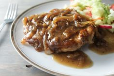 Ladies love pork chops. But Smothered Onion Pork Chops is a dinner recipe you can keep in your back pocket when you need to feed a hungry man.