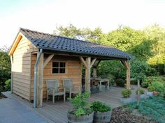 Shed and cover. Love the idea of shed/ tiny house with porch in back corner Garden Buildings, Garden Structures, Outdoor Structures, Shed Design, Garden Design, Gazebo, She Sheds, Garden Studio, Garden Office