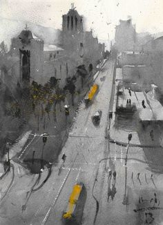 Michael Bennett Michael Bennett, Alternative Art, Watercolor Paintings, Watercolour, Original Artwork, Street View, Abstract, City, Drawings