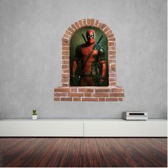 Deadpool brick window wall sticker and decals. Wall Stickers, Decals, Window Wall, Kids Rooms, Deadpool, Brick, Windows, Diy Room Decor, Wall Clings