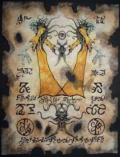 Cthulhu rey en amarillo larp Necronomicon pergaminos hechicería oscura magia