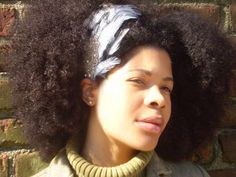 Natural Hair Accessories Black White Feather by BoutiqueDeBandeaux