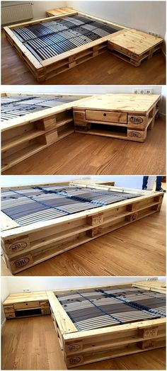 Crafting wood pallets into something worth complementing and productive is great way to enhance the charm of your place. Make your self busy in such healthy activity and have bed of your own style and choice. #bed #palletbed #pallets #woodpallet #palletfurniture #palletproject #palletideas #recycle #recycledpallet #reclaimed #repurposed #reused #restore #upcycle #diy #palletart #pallet #recycling #upcycling #refurnish #recycled #woodwork #woodworking
