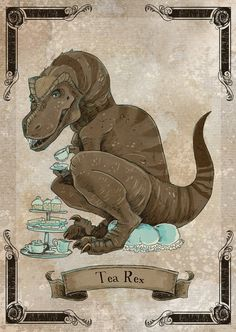 Tea Rex steamPUNk dinosaur print by theGorgonist on Etsy Raabe Tattoo, Dinosaur Art, Dinosaur Stuffed Animal, Dinosaur Puns, Dragons, Dinosaur Tattoos, T Rex Humor, Prehistoric Creatures, Wakeboarding