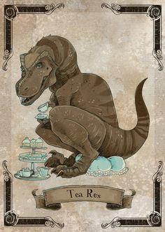 Tea Rex steamPUNk dinosaur print 8x10 by theGorgonist on Etsy, $12.00
