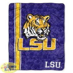 Northwest NCAA Louisiana State (LSU) Tigers Super Soft Sherpa Throw