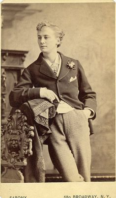 Stella (Ernest Boulton), Victorian England's female impersonator, with blonde hair in New York circa 1875. Sarony.