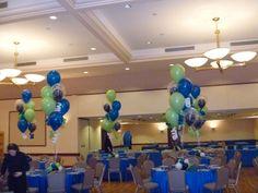 latex balloon centerpieces for a Bar Mitzvah