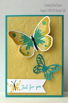 handmade card featuring two butterflies from Watercolor Wings suite ... luv the color combo of  deep aqua and creamy yellow ... butterflies embossing folder and stamped butterfly (center stamp of three for layered butterfly) complete the butterfly theme ... Stampin' Up!