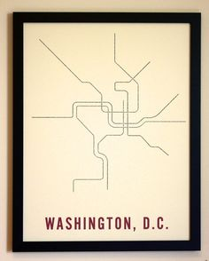 Washington, D.C. Typographic Transit Map Poster