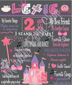 Princess Chalkboard Poster DIY File by mlf465 on Etsy, $20.00 2nd Birthday Parties, Birthday Ideas, Daniel Tiger, Chalkboard Poster, Birthday Chalkboard, Dora The Explorer, Princess Party, Silhouette Cameo, My Best Friend