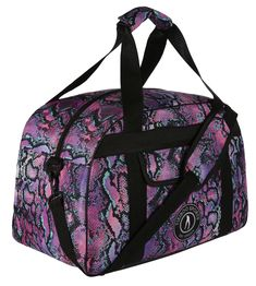 Inspired By Nature, Tikiboo's Luxurious Petrol Python Gym Bag Features A Shimmery Snakeskin Design In Vivid Purples, Turquoise And Black. Gym Bags, Python, Snake Skin, Traveling By Yourself, Jazz, Trainers, Zip Ups, Water Bottle, Towel