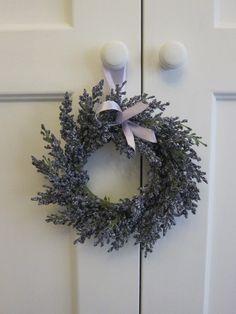 Lavender wreath on wardrobe door