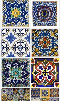 Talavera tiles for casita bathroom. Pop of color Tile Art, Mosaic Tiles, Tiling, Tile Patterns, Textures Patterns, Tile Design, Pattern Design, Mexican Style Kitchens, Patchwork Tiles