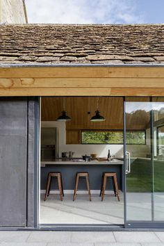 listed cottage extension sliding doors More