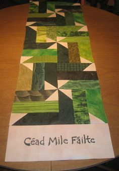 Irish table runner Cead Mile Failte means One Hundred Thousand Welcomes