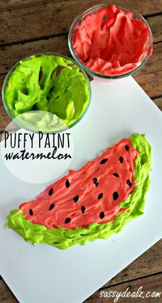Shaving cream puffy paint watermelon!