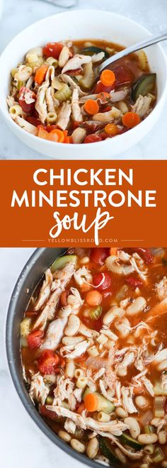 Chicken Minestrone Soup, with it's rich broth and tons of veggies, is a delicious way to warm up with some hearty comfort food.