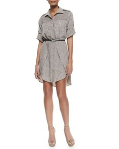 Long-Sleeve Printed Shirtdress W/ Belt by Halston at Neiman Marcus.