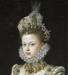 1579 Infanta Isabella Clara Eugenia (1566–1633) by Alonso Sanchez Coello (Spanish painter, c 1531-1588) Detail