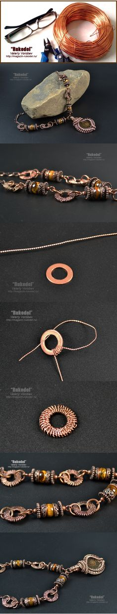 """Handmade jewelry by Valeriy Vorobev """"Rukodel"""" I'd like to try the wrapped washer idea on a long copper chain."""