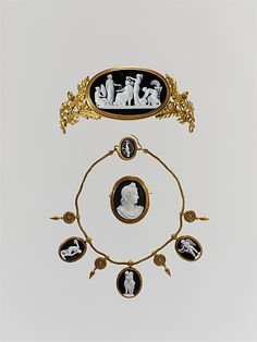 Parure (tiara, necklace, and brooch), onyx, gold, and tortoiseshell; 1860