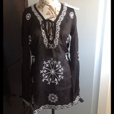 """NWT Woven cotton embroidered tunic- So Chic!! NWT RETAIL beautiful tunic top w/side slits- see last photo for detail at slits. Crochet like trim at neckline with tie- same tie at the bottom of the sleeves. Lightweight, slightly sheer- great for Spring/Summer as top or even as bathing suit cover up. Approx. 30"""" long. Have (2) Small, (2) Medium available for purchase. Monoreno Tops"""