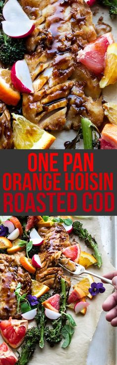 We're chasing winter blues away with bright and tangy winter citrus and Asian hoisin glaze. This citrus hoisin glazed roasted sheet pan cod is a one pan dinner takes less than 30 minutes to make. It's completely gluten and carb free. It's perfect for cold Cod Recipes, Fish Recipes, Seafood Recipes, Dinner Recipes, Healthy Recipes, Yummy Recipes, One Pan Dinner, Fish Dinner, Salmon And Asparagus