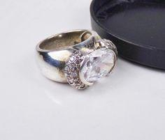 Designer ANTHONY NAK Sterling Silver 925 CZ half Halo East West Size 6.5 Ring #Cluster