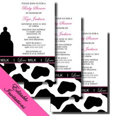 COW Print Baby Shower Pack - MILK Inspired Printable Invitation and Party Decorations