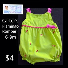 Carter's 9m Infant Girls Green & Pink Flamingo Romper $4