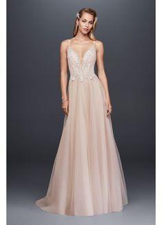 d8f4502f6e08 David s Bridal Sheer Beaded Bodice Organza A-Line Wedding Dress Wedding  Dress On Sale - Off