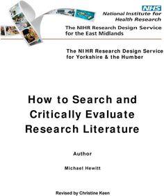 Cómo buscar y evaluar críticamente la literatura de investigación