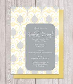 Gray and yellow Bridal Shower Invitation, retro pattern, budget invitations,  Instant Download PDF by emilyedsondesign
