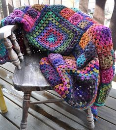 'Granny's a square' crochet afghan