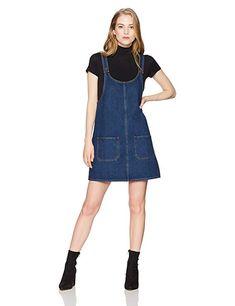 a16edcb6b9b4 Lily Parker Women's Junior Classic Denim Bib Overall Dress with Pocket Denim  Pinafore, Pinafore Dress