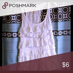Hollister White Tank This is a white tank top with laced layers on it. Hollister Tops Tank Tops