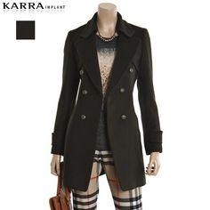 [패션플러스][KARRA IMPLANT]시크 테일러드 배색 롱자켓+머플러(K24MWJ074MK)/자켓,롱자켓,모직자켓,털자켓,하프자켓 Ganji Fashion
