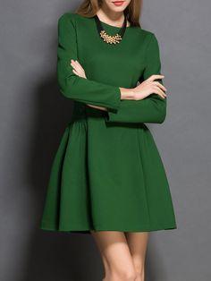 Shop Mini Dresses - Green Crew Neck Cotton Long Sleeve Mini Dress online. Discover unique designers fashion at StyleWe.com.