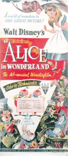 Vintage Disney Alice in Wonderland: 1952 Australian Daybill