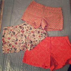 Printed Shorts Perfect for spring and summer; this is a bundle of 3 (can also be sold separately) Gap printed shorts. All size 4. GAP Shorts
