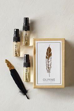 Olivine Eau De Parfum Sample Set #anthropologie Love the box, the feather, the cute vapos