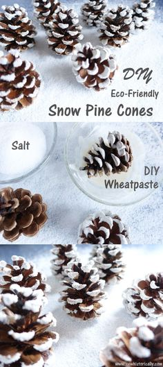 Make cute snow covered pine cones with things you already have in your kitchen! These snow pine cones are eco-friendly and non-toxic. You'll just need three things for the eco-friendly snow pine cones: pine cones, salt and flour. Winter Crafts For Kids, Diy Crafts For Kids, Kids Diy, Schnee Party, Snow Decorations, Snow Party, Pine Cone Crafts, Pine Cones, Eco Friendly