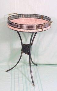 VINTAGE PINK & BLACK METAL TRAY TABLE 1950's ERA