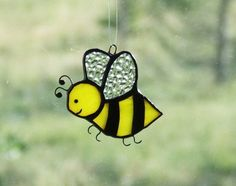 Bzzzy Bumble Honey Bee Stained Glass Suncatcher