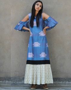 Blue Printed Cold Shoulder Bell Sleeve Long Kurta