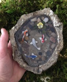 For my mom's fairy garden - Miniature Koi Pond                                                                                                                                                      More