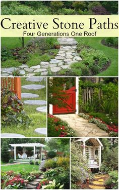 Add a fun creative stone pathway to your yard. Creative stone pathway ideas @Four Generations One Roof