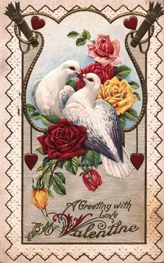 Pretty Vintage Valentine with Doves - The Graphics Fairy